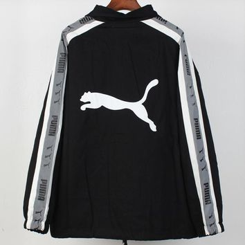 PUMA 2018 autumn and winter new trend men and women models 3D reflective string jacket black