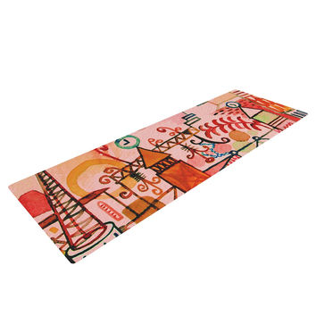 """Marianna Tankelevich """"Happy Town"""" Pink Yoga Mat"""