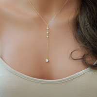 Gold CZ Lariat Necklace Gold Y Necklace Wedding Lariat Necklace XL136