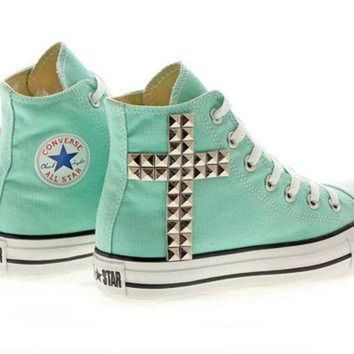 DCCKHD9 Studded Converse, Aruba Blue Converse Silver Cross by CUSTOMDUO on ETSY