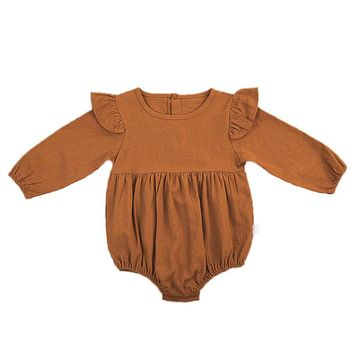 Cute Newborn Baby Girl Romper 2017 Autumn Long Sleeve Solid Color Ruffles Toddler Kids Jumpsuit One Pieces Clothes 3M-3Y
