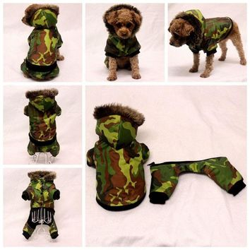Waterproof dog clothes winter Detachable two-piece dog coat pet jacket Camouflage warm dog four legs clothing for small dogs