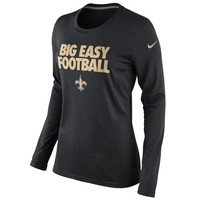 Nike New Orleans Saints Ladies Big Easy Football Local Long Sleeve T-Shirt - Black