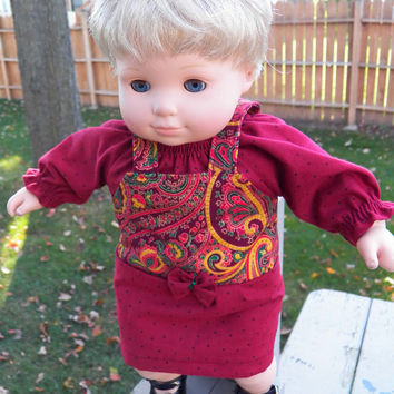 "American Girl Bitty Baby Clothes 15"" Doll Clothes Girl Burgundy Red Paisley Print Jumper & Polka Dot Peasant Blouse Fall Autumn 2pc Outfit"