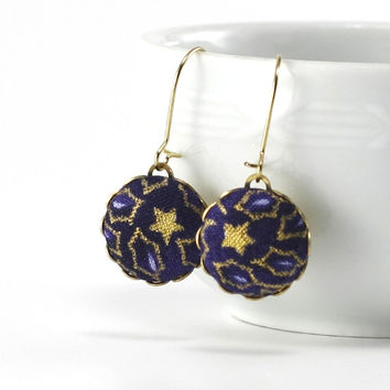 Magic of the Night - Dangle Earrings - Leaves and Stars - Summer Blue and Gold - Romantic Fabric Covered Buttons Earrings