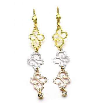 Gold Layered 5.101.001 Long Earring, Butterfly Design, with White Cubic Zirconia, Diamond Cutting Finish, Tri Tone