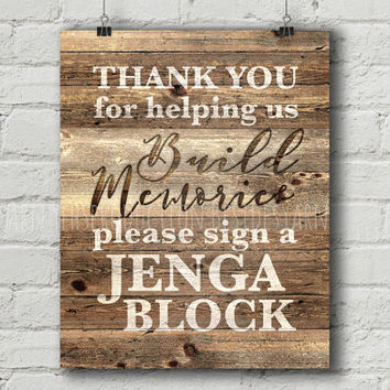 Wedding Guest Book Sign PRINTABLE, Rustic Wedding Guest Book Alternative, Jenga Guest Book Sign, Jenga Wedding Sign, Jenga Sign, Rustic Sign