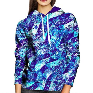 Abstract Blue Waves Womens Hoodie