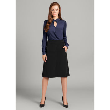 Black Classic Office Style Midi Skirt For Women LAVELIQ