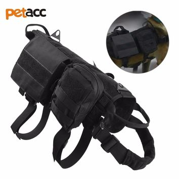 Petacc Outdoor High quality Pet Jacket Dog Clothes Tactical Army Dog Vest Training Military Load Bearing Harness Hunting Combat