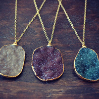 Druzy Necklaces /// Electroformed Gemstone Arrowhead /// Gold