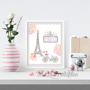 Paris Eiffel Tower Printable, Wall Print, Home Wall Printable, Eiffel Tower Print, Flower Quote Print, Paris Printable, Spring Flower Print