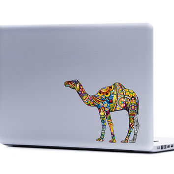 Camel Ornate Vinyl Laptop or Automotive Art FREE SHIPPING decal laptop notebook art sticker ornate detailed colorful desert camels