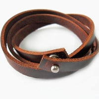 Fashion leather bracelet buckle bracelet women bracelet men bracelet made of brown leather cuff  bracelet SH-1734