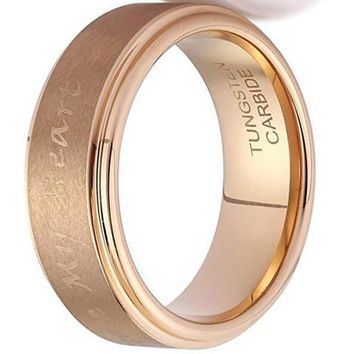"""8mm""""You Stole My Heart"""" Laser Engraved Rose Gold Plated Tungsten Ring Wedding Band"""