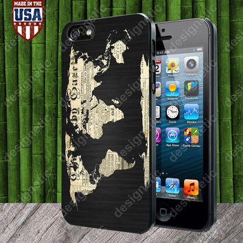 World Map Old Newspaper case for iPhone 5, 5S, 4, 4S and Samsung Galaxy S3, S4