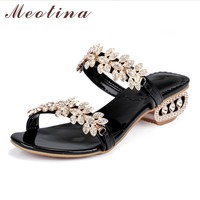 Meotina Women Sandals Summer 2017 Crystal Chunky Heel Sandals Party Shoes Size 34-43 Rhinestone Flower Sandals Shoes Women Gold
