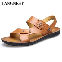 Tangnest Brand Men Summer Sandals Classic Brown Gladiator Sandals Fashion Microfiber Leather Sandals Men Rubber Slippers XML222