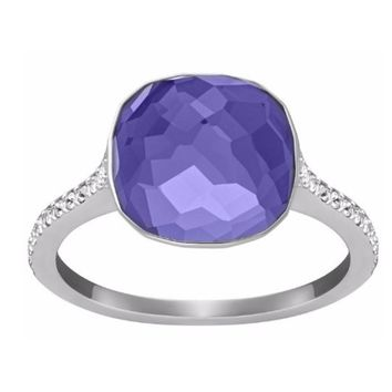 Swarovski Tanzanite Crystal DOT PAVE Ring Rhodium Plated