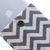 "Kuzy - 11-Inch GRAY Chevron Cotton Sleeve Handmade Cover for Apple MacBook Air 11.6"" Model: A1370 and A1465 and Samsung Chromebook 11 - Gray 11.6-inch"