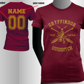Custom Name and Number on back, Gryffindor Quidditch team Captain YELLOW print on Maroon Women tee