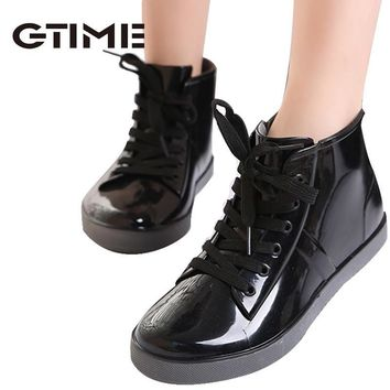 2015 Lace-Up Rain Boots Fashion Solid Ladies Flats Ankle Boots Casual Silver Women Boo