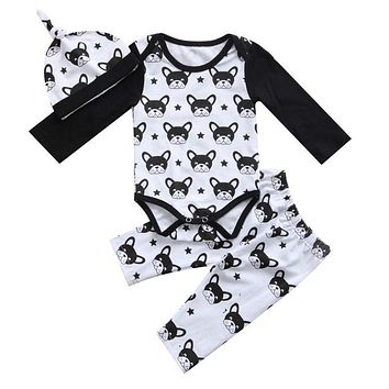 Cute Newborn Baby Boys Girl Clothing Dog Animal Printed Long Sleeve Romper Pants Hat 3Pcs Autumn Style Clothes Outfits