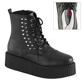 Pleaser Female 2 Inch Platform Lace-Up Creeper Ankle Boot V-CRE573