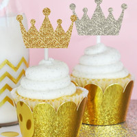 Sparkly Crown Stickers (Set of 24)