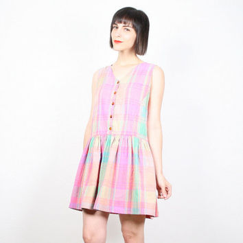 Vintage 1980s Pink Dress Plaid Dress Mini Dress Babydoll Dress Sundress 80s Dolly Dress Drop Waist Preppy Micro Mini Dress M Medium L Large