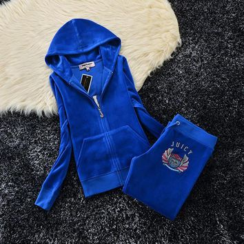 Juicy Couture Studded Crown With Wings Velour Tracksuit 6130 2pcs Women Suits Blue - Ready Stock
