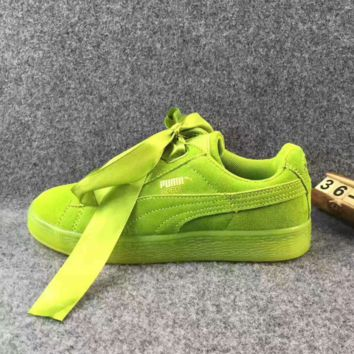 Puma  Rihanna Silk Bowknot Fashion Sport Casual Shoes Sneakers green
