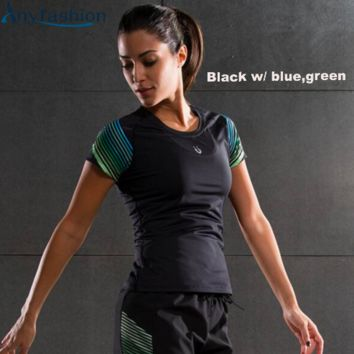 Anyfashion Women Professional Shirt for Fitness Running Sports T shirt Short-sleeved Quick Drying Tees Jogging Exercises Woman