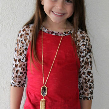 Kids Lace Get Together Red Burnout Baseball Tee with Cheetah Lace Sleeves