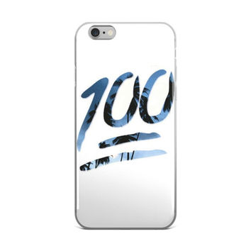 100 Emoji Palm Trees Cute Cool Teen Girls Boys Blue & White iPhone 4 4s 5 5s 5C 6 6s 6 Plus 6s Plus 7 & 7 Plus Case