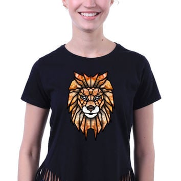 Cute Colorful Geometric Lion Face Head Print Tribal Triangle Animal Crop Top Fringe T-shirt