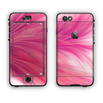 The Abstract Pink Flowing Feather Apple iPhone 6 LifeProof Nuud Case Skin Set
