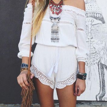 Women off shoulder romper women off shoulder jumpsuits, Long Sleeve Slash Neck Crochet Loose White Short Boho Hippe Playsuit