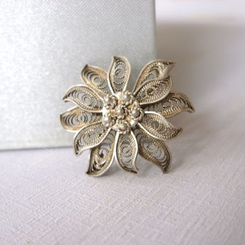 Vintage Sterling Silver Three Dimensional Flower Brooch Pin