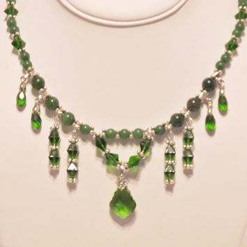 Emerald Green Crystal and Jade Statement Necklace, Vintage Inspired - Holiday, Party, Formal, Victorian, Edwardian