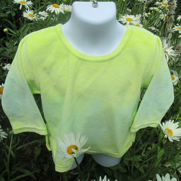 Velour Infant knit dress, cotton, tie-dyed yellow, Kiwi green, kitten soft, 2 T Girls, great with leggings or shorts.