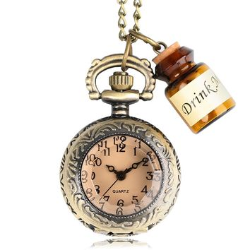 2017 HOT Vintage Bronze Pendant Pocket Watch Alice in Wonderland Drink Me Tag Necklace Chain Best Gifts for Girls Women with Bag