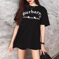 """""""Burberry"""" Women Casual All-match Simple Embroidery Letter Short Sleeve T-shirt Top Tee"""