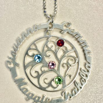 Personalized .925 Sterling Silver Family Tree Necklace - 1 Name