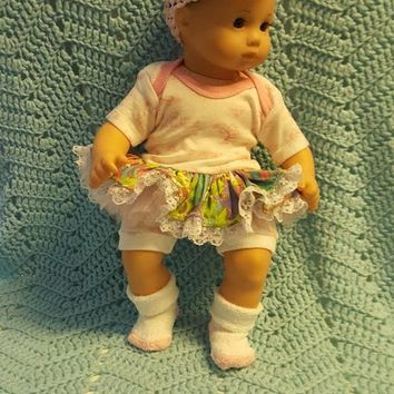 "Baby Doll Clothes ""Bunny and Friends Again"" (15 inch) doll outfit Will fit Bitty Baby® Bitty Twins®  dress shorts socks headband A12"