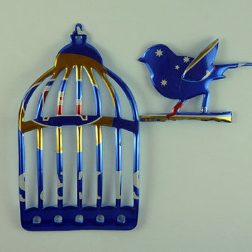 Blue Cage and Bird Magnet Made from Foster's beer can- beer can magnet - unique gift for him - unique gift for her - unique gift for teacher