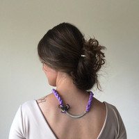 Lilac Silk Rope Necklace, Silver Plating Piece and Needle Lace Work, Statement Necklace, Bib Necklace, ReddApple, Gift Ideas for Her