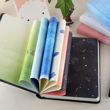 Blue House Journal Diary Lined A5 Hard Cover DIY Planner Pocket School Study Notebook Agenda Notepad Memo Gift Cute Notebook