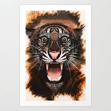 Surprised Tiger Art Print by naumovski