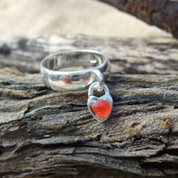 Scottish red sea glass silver plated ring with dangling heart charm UK SIZE 7, red sea glass ring, love heart shaped ring, silver plated red